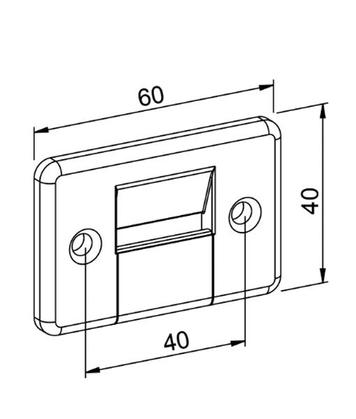 Gurtführung mit Bürste 2-Teilig eckig Zeichnung