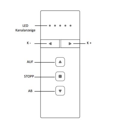 PREMIUM Rolladenfunkhandsender 5-Kanal - Technische Zeichnung