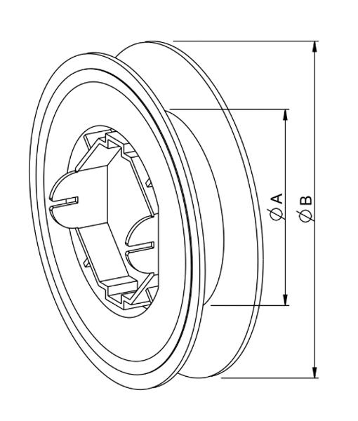 Gurtscheibe für Rollladen 8-Kant Welle SW60 - Zeichnung