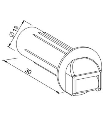 Steckleitrolle mit Schutzrohr für MINI-Gurt 14mm Zeichnung