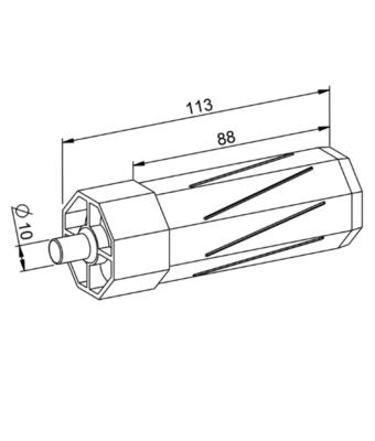 Walzenkapsel mit Achsstift SW 40mm technische Zeichnung