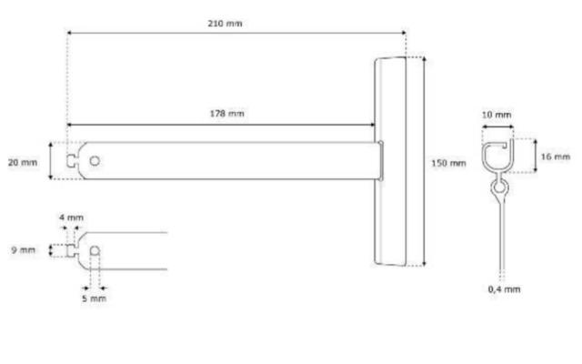 Aufhängefeder Rolladen für MAXI-Profile bis 56mm Profilhöhe - Maße