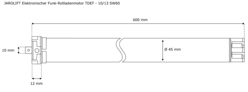 Jarolift Funk-Rollladenmotor TDEF 10-13 - max. 27kg Panzergewicht - SW60