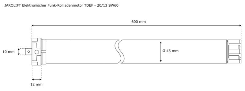 Jarolift Funk-Rollladenmotor TDEF 20-13 - max. 42kg Panzergewicht - SW60 technische Zeichnung
