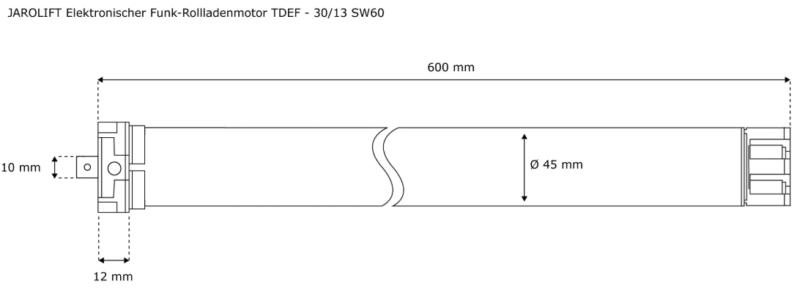 Jarolift Funk-Rollladenmotor TDEF 30-13 - max. 62kg Panzergewicht - SW60 technische Zeichnung