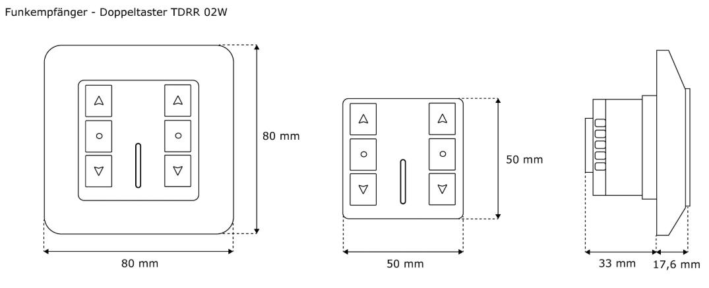 Jarolift Funkempfänger mit Doppeltaster - 2-Kanal (technische Zeichnung)