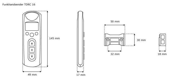 Jarolift Funkhandsender 16-Kanal - technische Zeichnung