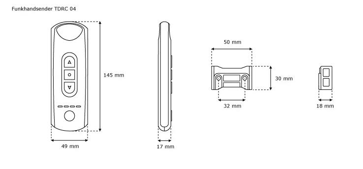 Jarolift Funkhandsender 4-Kanal - technische Zeichnung