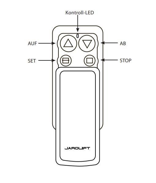 Jarolift Mini Funkhandsender - technische Zeichnung