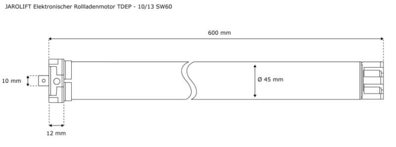 Jarolift Rolladenmotor TDEP 10-13 - max. 27KG Panzergewicht - SW60 Technische Zeichnung