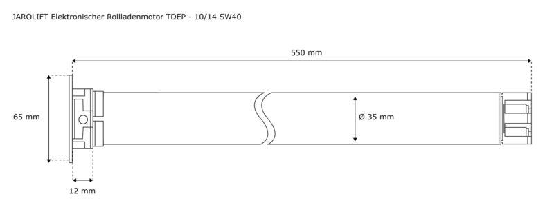 Jarolift Rolladenmotor TDEP 10-14 - max. 27KG Panzergewicht - SW40 technische Zeichnung