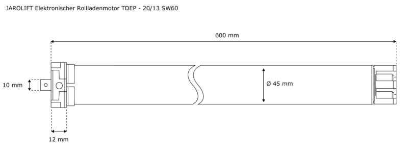 Jarolift Rolladenmotor TDEP 20-13 - max. 42KG Panzergewicht - SW60 Technische Zeichnung
