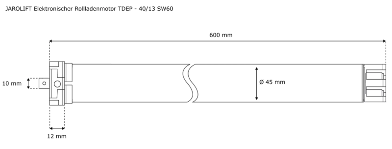 Jarolift Rolladenmotor TDEP 40-13 - max. 75KG Panzergewicht - SW60 Technische Zeichnung