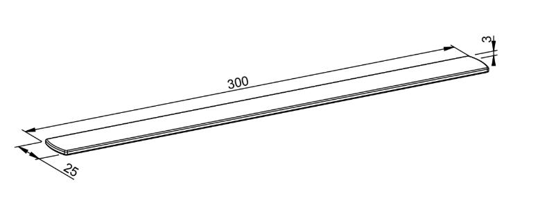Beschwerungseisen für Rolladenendleiste (3er Set) - Technische Zeichnung