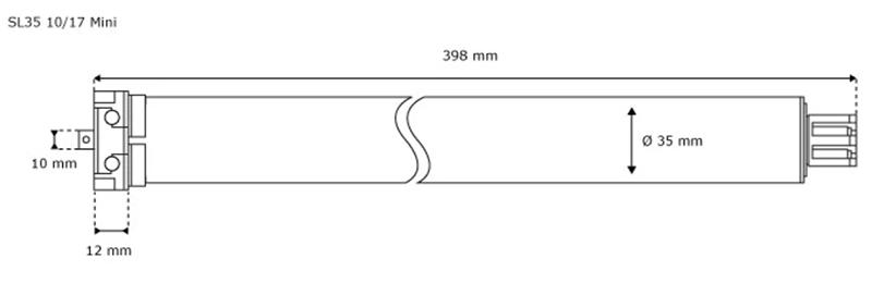 Jarolift Rollladenmotor 10/17 Mini Kurzantrieb - technische Zeichnung